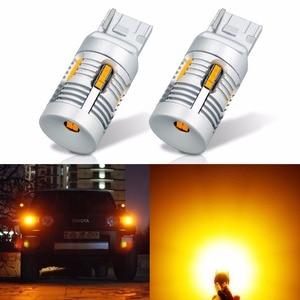 VANSSI 2x T20 W21W WY21W 7440 7440NA LED Turn Signal Light Bulbs Canbus Error Free No Hyper Flash 24smd 2800lumen Amber Yellow(China)
