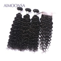 Brazilian Human Hair Bundles With Closure Deep Curly Lace Closure With 3 Bundles Natural Color Remy Hair Extensions