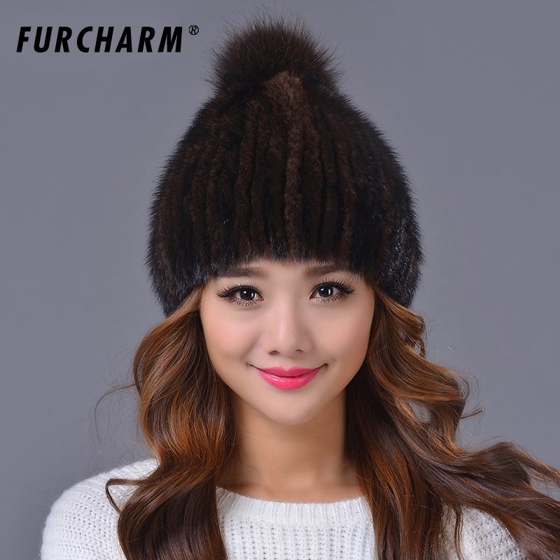 Real Mink Fur Hat and Beanie Cap with Fox Fur Pom Pom Ball Woolen Knitted Cap Had made Warm Winter Women Hats Beanies foreign trade explosion models in europe and america in winter knit hat fashion warm mink mink hat lady ear cap dhy 36