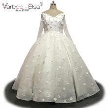 VARBOO_ELSA White Wedding Dress Gown Long Sleeve