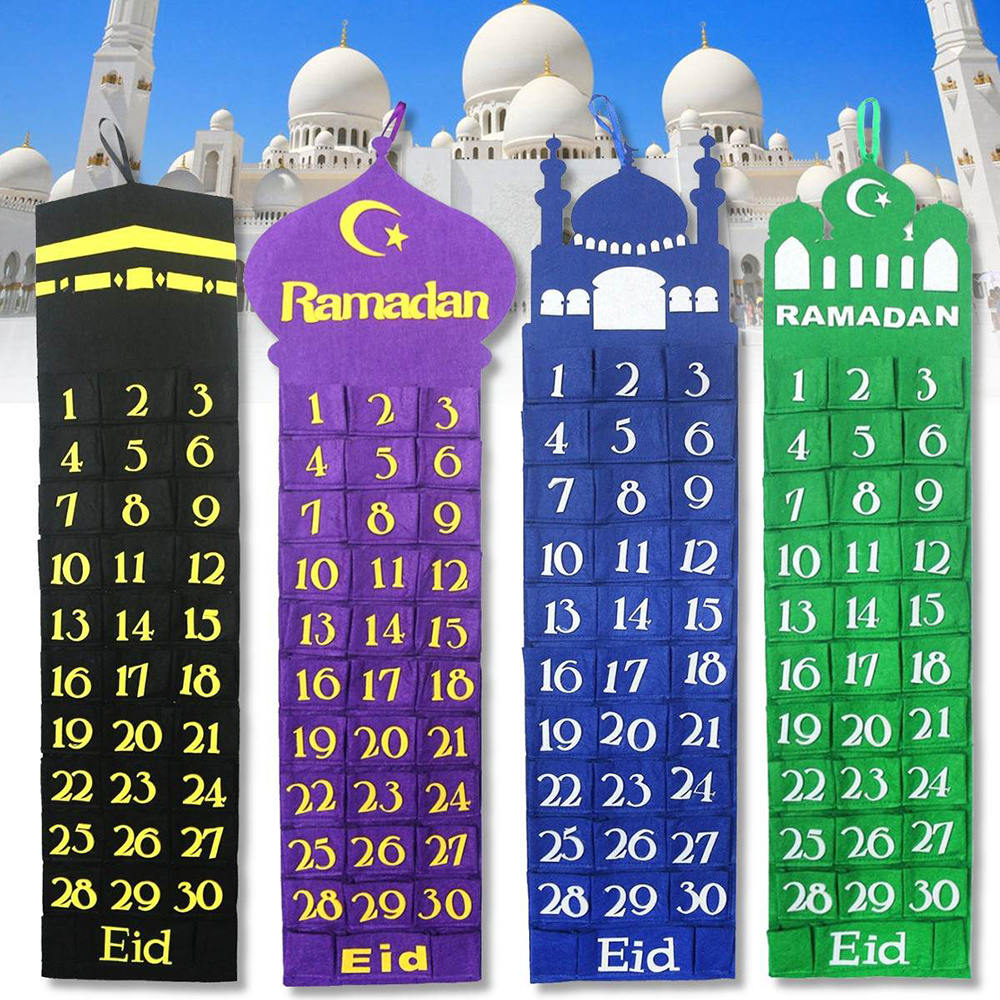 Saco De Armazenamento bolsos Calendário Ramadan Kareem 30 Calendário Partido Muçulmano EID Festival Presente Ramadan Feliz EID Mubarak Decor