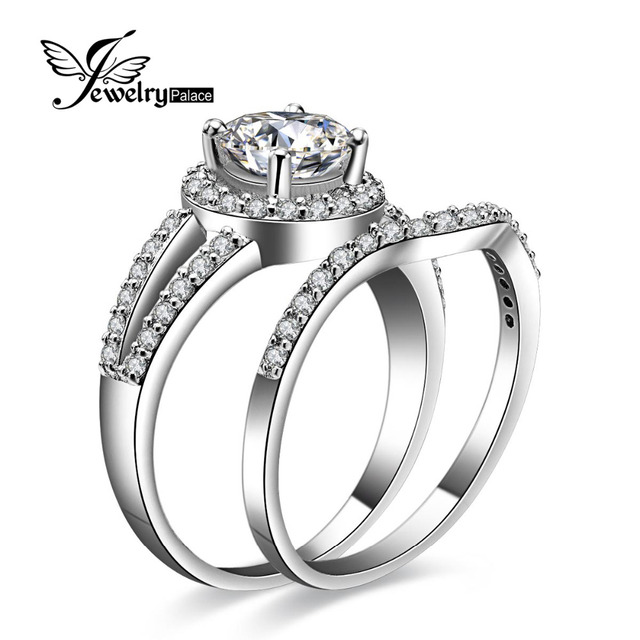 Stylish Dazzling Engagement Wedding Ring Set 925 Sterling Silver Jewelry For Women Brand Design Band Halo Ring FABULOUS