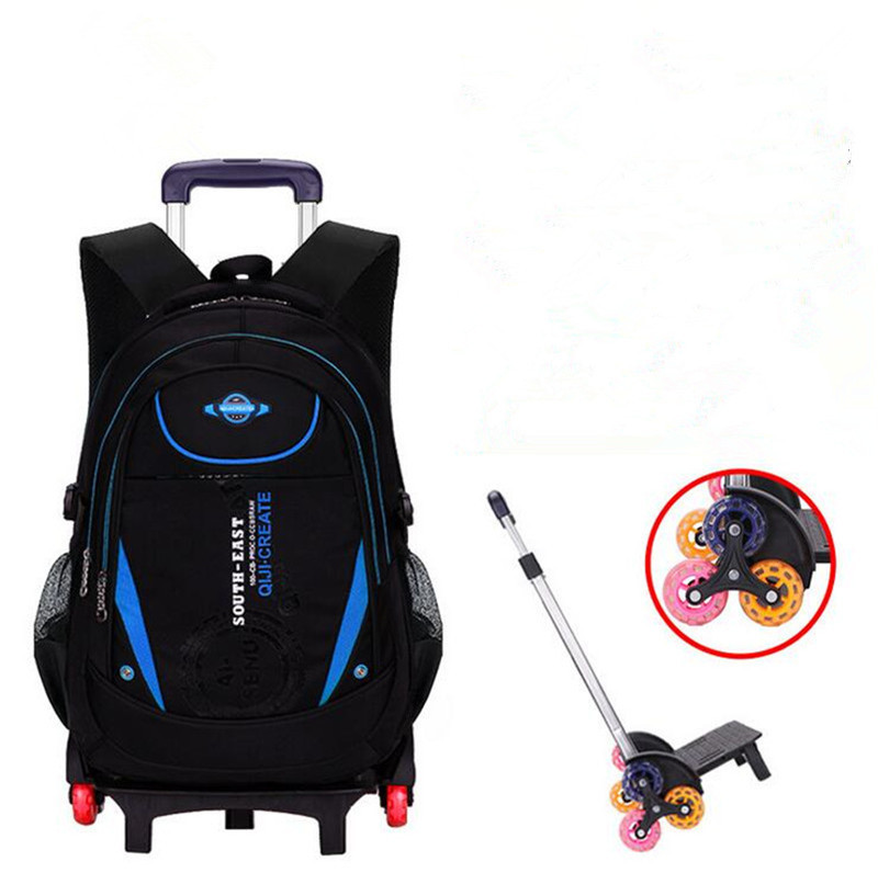 Kids 2 6 wheels Rolling Backpack Removable Boys Waterproof Book Bag Children Trolley School Bag Travel