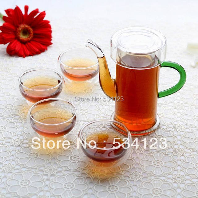 FREE SHIPPING+ Coffee & Tea Sets +250ml glass flower teapot +4 Double-wall Cup
