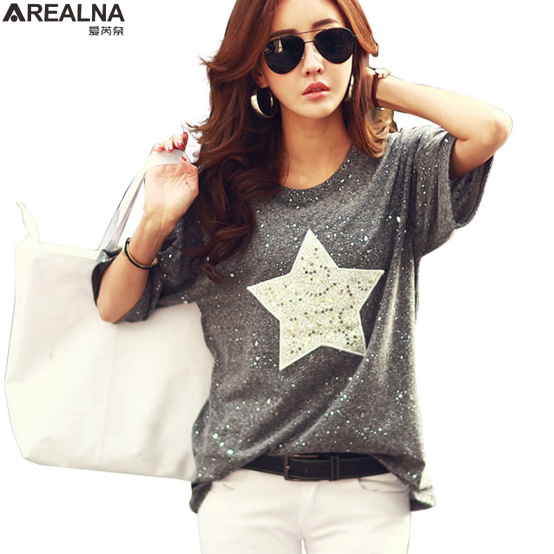 Fashion   T     Shirt   Women Tops Short Sleeve Cotton Tees Shiny Star Patterns with Sequined 2018 Summer Rhinestone Camisetas Mujer 4xl