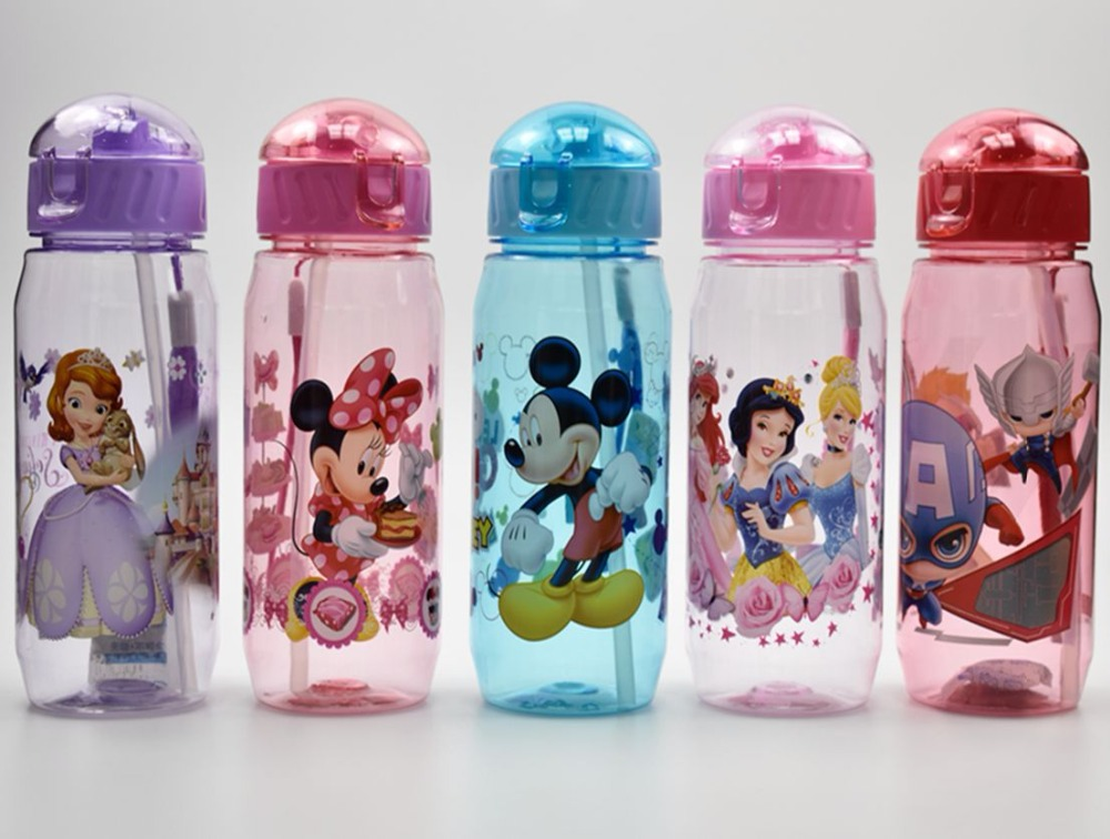 Eco-friendly Kid Kids Drinking Cartoon Water Bottles BPA Free Plastic Straw Bottle Children Bottle Children Kettle Sports Bottle image