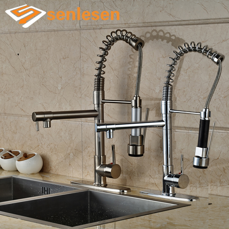 Wholesale and Retail Kitchen Faucet Chrome Finish / Brushed Nickel Deck Mounted with Hole Cover Plate wholesale and retail deck mounted waterfall bathtub faucet 3 hole chrome finish hot