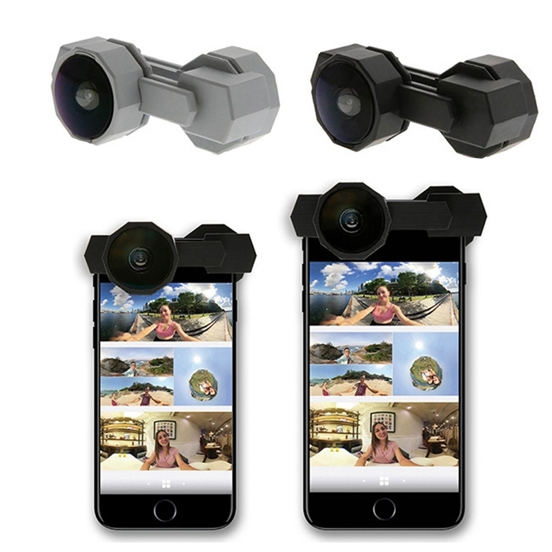 2 X 360 Degree Fusion Lens + 1 X Lens Mount Bracket Panoramic Mobile Phone Lens For Iphone7/8/iphone7plus/8plus Dropship