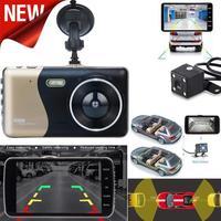 Top Quality Car DVR 4 LCD IPS Dual Lens Car Dash Cam FHD 1080P Dashboard Camera 170 Driving DVR Cam Recorder Dashboard #0813