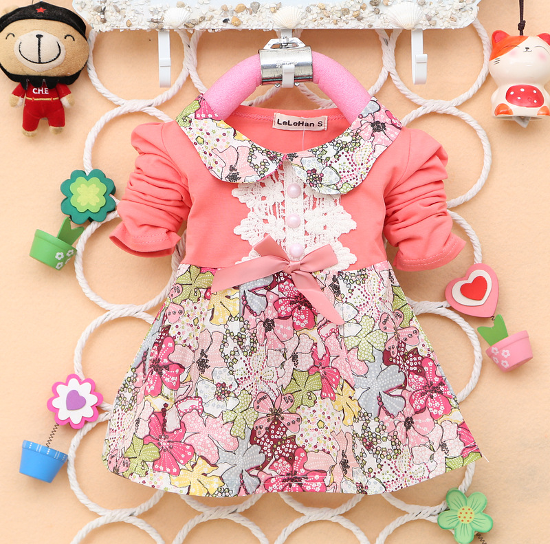 Baby girls dress new spring bebes Lace full flower printing mini dress toddler casual lovely dress infantil spring clothes