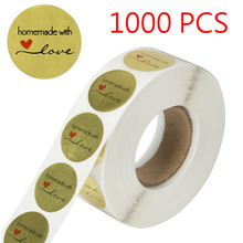 500pcs 1 Inch Round Handmade with Love Stickers seal labels for wedding decoration  party baby shower Gift