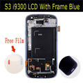 100% original 4.8 inch  LCD Screen Digitizer With Frame For Samsung Galaxy S3 III i9300 Blue Color