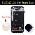 100% original 4.8 pulgadas lcd pantalla digitalizador con marco para samsung galaxy s3 iii i9300 de color azul