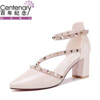 Centenary 2017 New Sexy High Heels Womens Pumps Cream Beige White Rivet Patent Leather 6 5CM