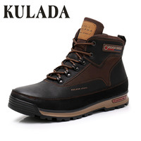 KULADA New Men Winter Snow Boots Men Outdoor Activity Sneakers Boots Warm Fur Lace Up High Top Fashion Shoes Men Safety Boots
