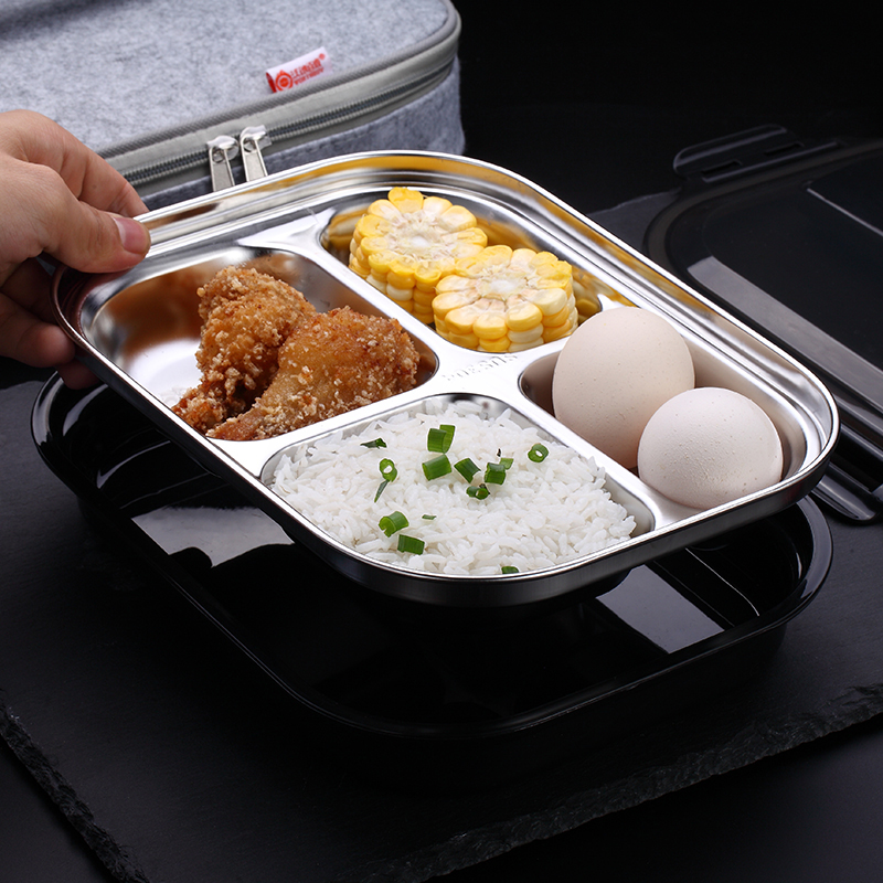 Thickened 304 Stainless Steel Lattice Heat Preservation Lunch Box 1 Pieces Lovely Student Office Staff Special Bento Box