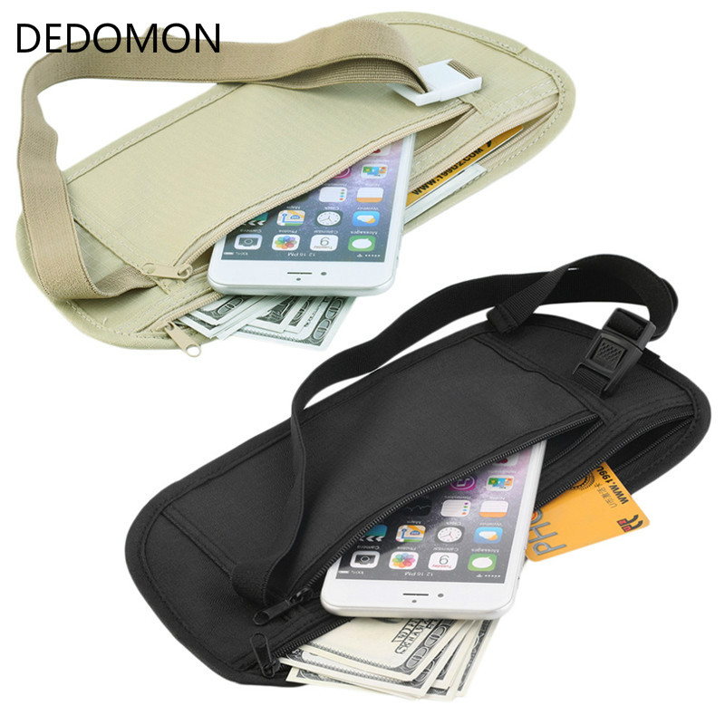 Cloth Waist Bags Travel Pouch Hidden Wallet Passport Money Waist Belt Bag Slim Secret Security Useful Travel Bags Chest Packs(China)