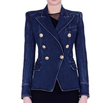 High quality design womens double-breasted denim Blazer European style 2017 Fall/winter slim fit suit jackets