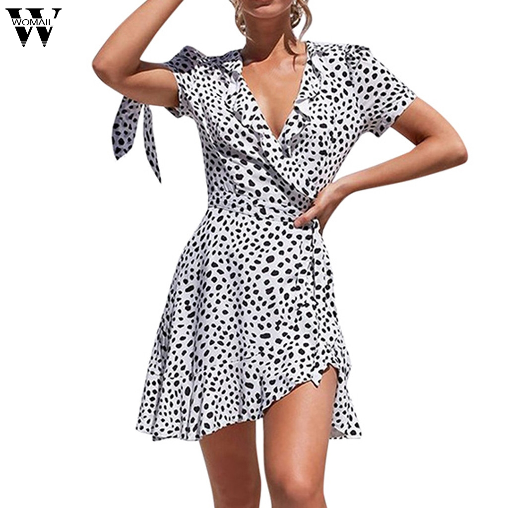 Womail dress Summer Sexy Dot Print V-Neck Flare Short Lace-up Sleeve Tie Mini Dress fashion new Casual 2020 dropship M9