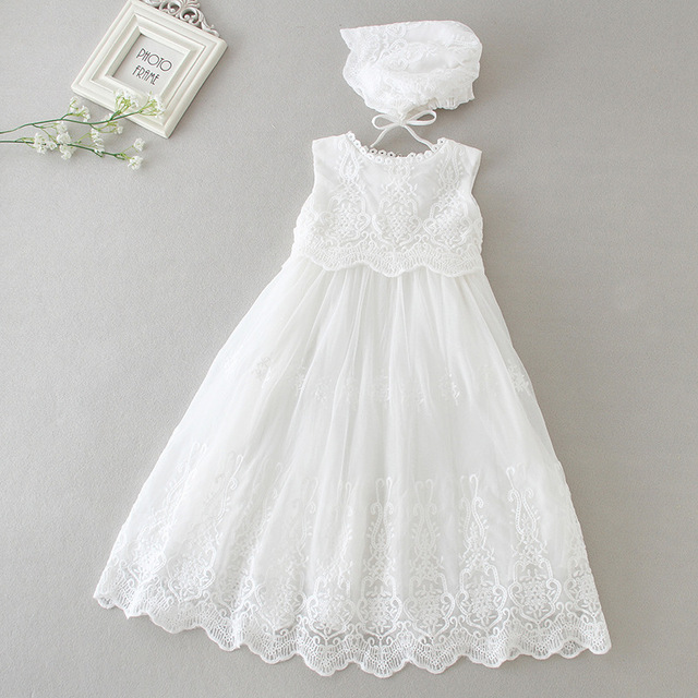 890544644059a Long Baby Christening Gown White Baptism Dress with Bonnet Hat Newborn  Beaded Tulle Dresses Embroidered Lace Frock