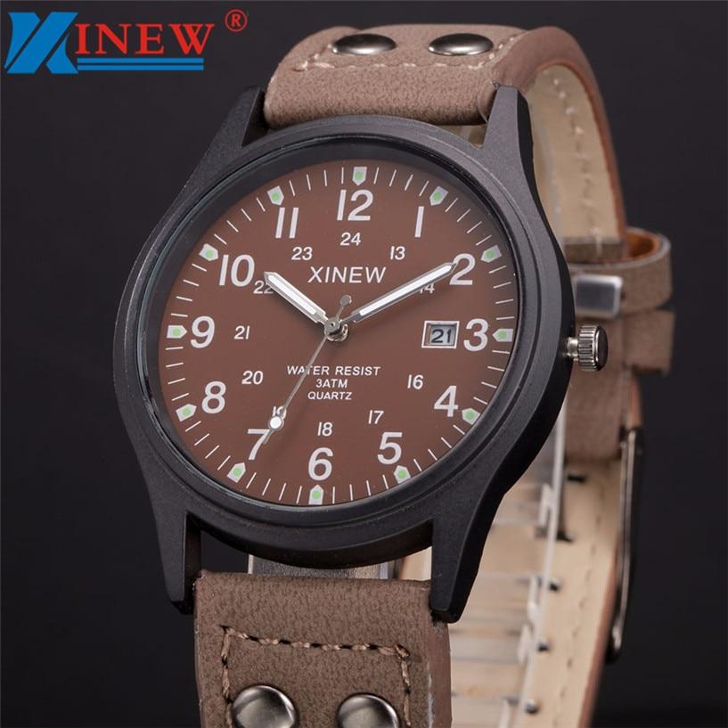 XINEW Watch Men Relogio Masculino Vintage Classic Men's Date Leather Strap Sport Quartz Army erkek kol saati dropship
