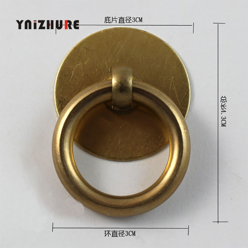 30mm Chinese Antique Pure Copper Drawer Knobs Handles Small Circle Classic Cabinet Door Pull Handle Screw Accessories