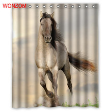 WONZOM Polyester Horse Shower Curtains Bathroom With 12 Hooks Waterproof Accessories For Decor Modern 3D Animal Bath Curtain
