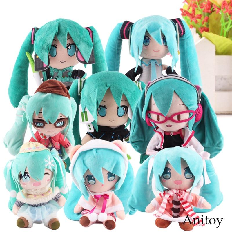 Anime Plush Toy Fabric Plush Vocaloid Hatsune Miku Doll Cute Stuffed Toys for Children 8 Styles 23-33cm hatsune miku winter plush doll