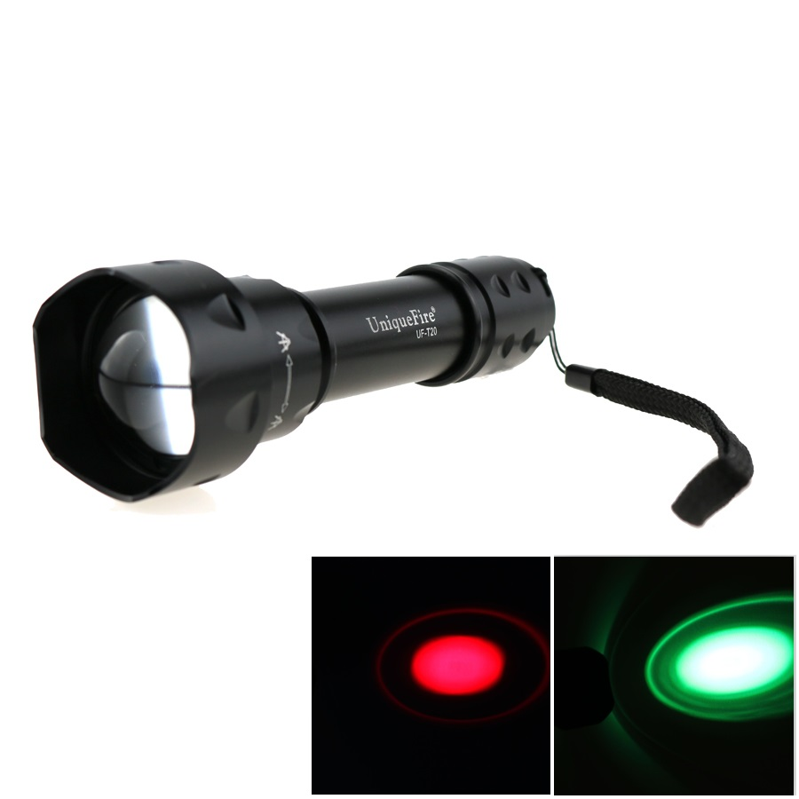 UniqueFire UF-T20 CREE Q5 Green / Red Light Zoomable Lantern Torch Bike lamp 3 Mode LED Hunting Flashlight For 18650 Battery c8 q5 led hunting flashlight torch cree led red green blue light camping lamp 1 mode 18650 battery charger gun mount switch