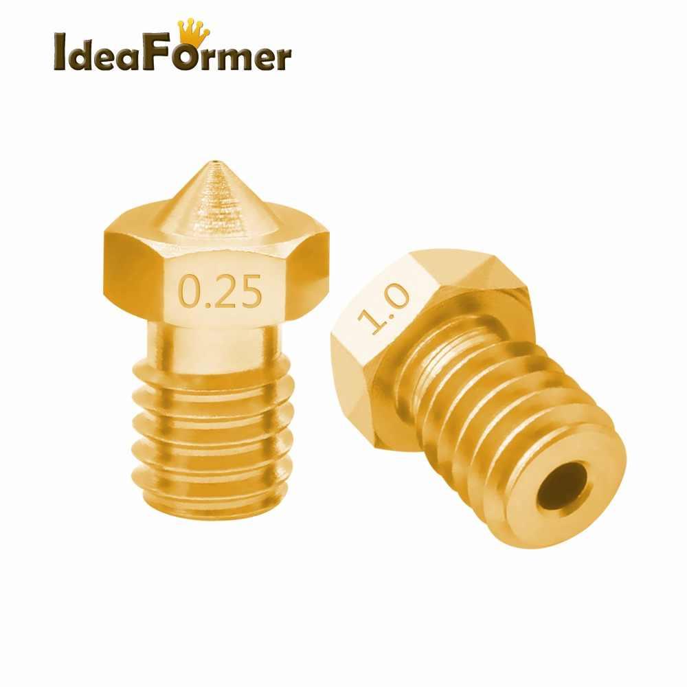 Аксессуары для 3D-принтера V5, V6, M6, насадка с резьбой 0,2, 0,25, 0,3, 0,5, 0,6, 0,8, 1,0 мм для 1,75 мм, 3,0 мм, filamnet, полностью металлический принтер E3D, 5 шт.