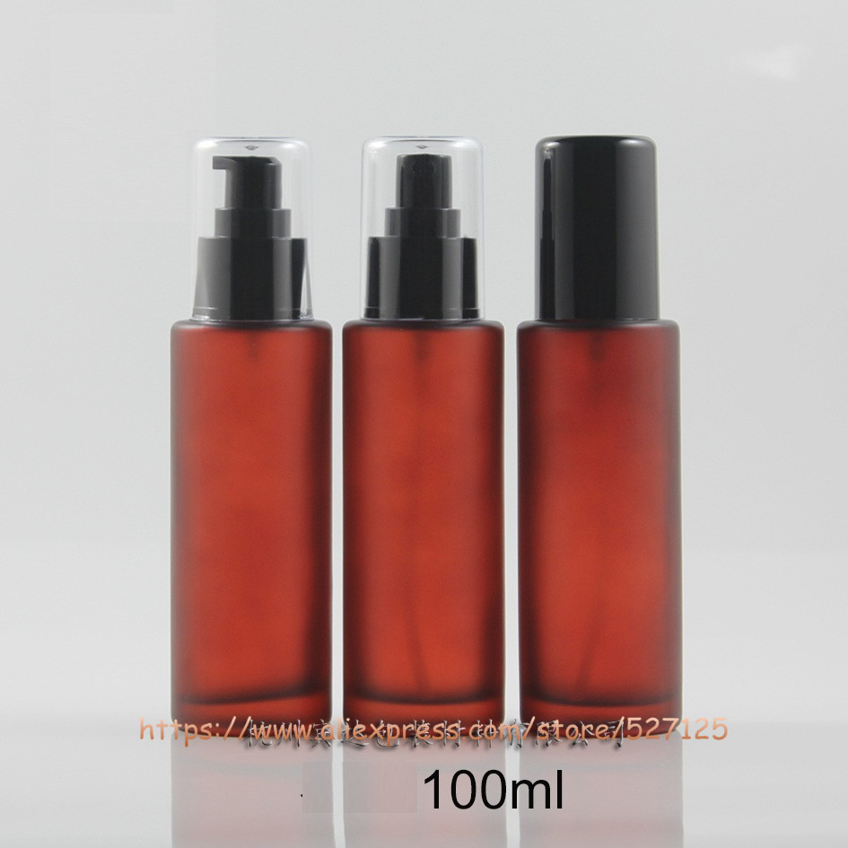 100ml olive green frosted painted glass bottle with pump sprayer for lotion perfume essential oli moisturizer