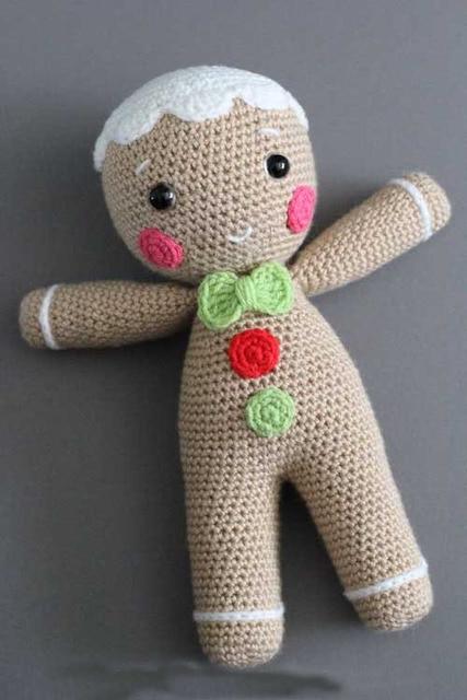 Crochet Amigurumi Gingerbread Man Christmas Gingerbread Man Stuffed