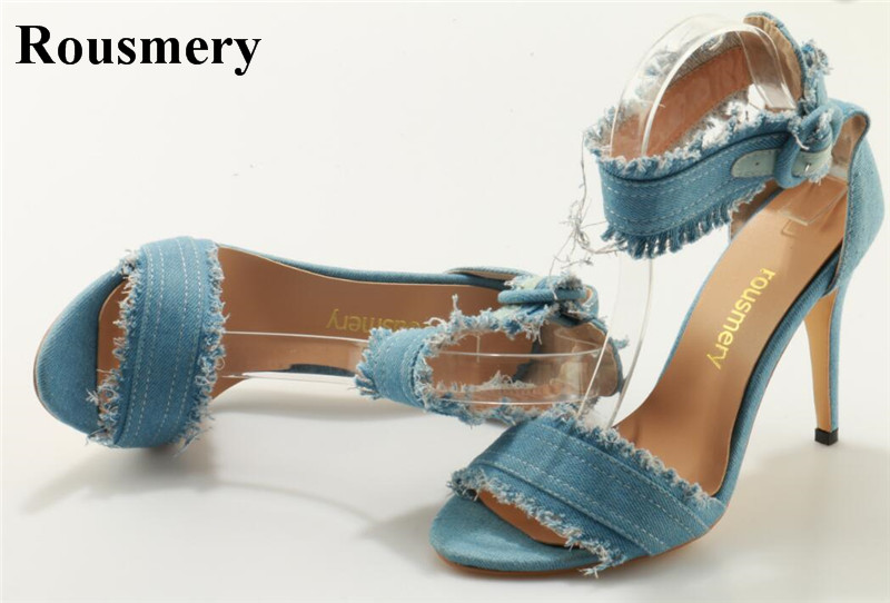 New Fashion Women Open Toe Denim High Heel Sandals Cut-out Ankle Buckle Sandals Women Casual Dress Shoes Jean Heels new fashion rivet hollowed out women sandals round toe chunky high heels ankle buckle female sandals mesh ladies leisure shoes