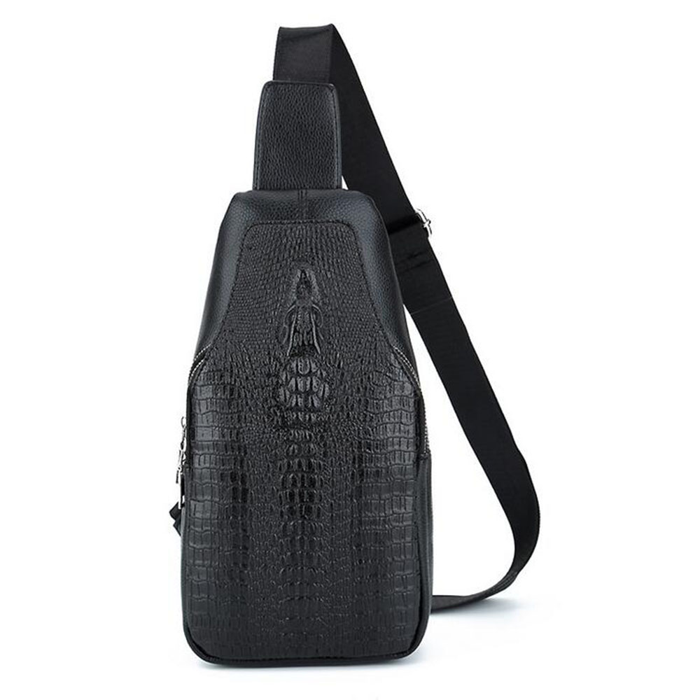 New Men Chest Bag Leather Bag USB Charging Casual Men Crocodile Pattern Crossbody Bag Wile High-Capacity Backpack IOKUKI crocodile pattern cube shaped crossbody bag