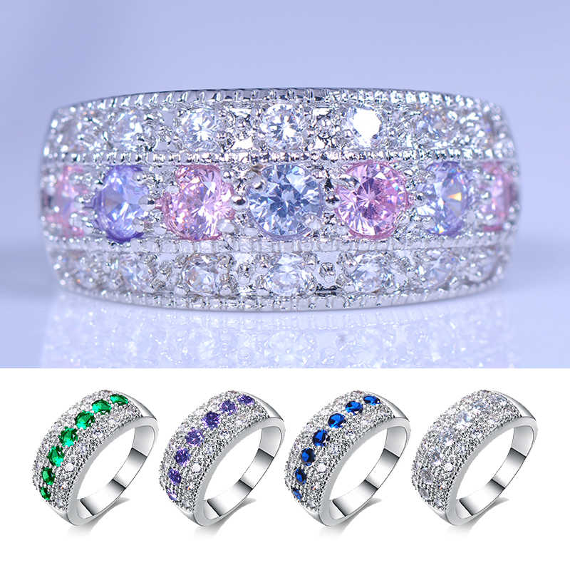 Bohemian Princess Pink Purple Green Blue White Ring Crystal Zircon Stone Ring 925 Silver Wedding Engagement Rings For Women