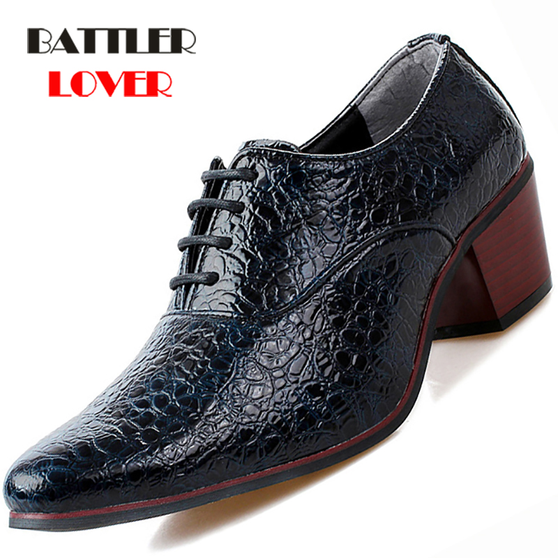 2019 Luxury Men Dress Wedding Shoes Crocodile Leather 6cm High Heels Fashion Pointed Toe Heighten Oxford Shoes Party Prom Shoe