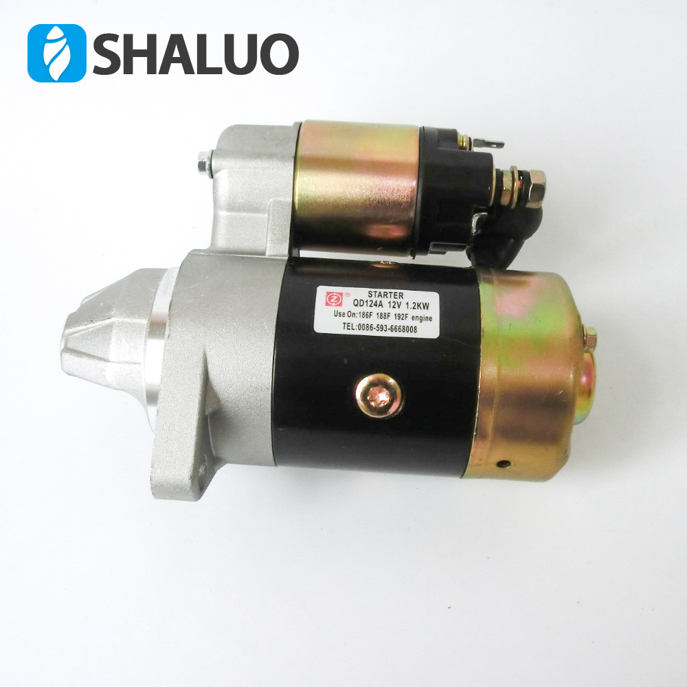QD124A 12V 1.2KW Starter Motor Parts Electric Starter Motor kit Copper Made fits 186F 188F 192F engine generator Motor starter