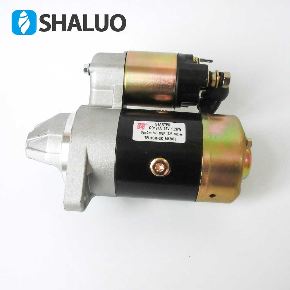 QD124A 12V 1.2KW Starter piezas de Motor de arranque eléctrico kit DE FABRICACIÓN de cobre se adapta a 186F 188F 192F Motor de arranque del generador del Motor