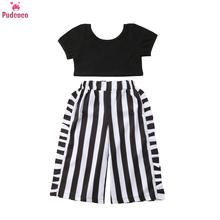 Summer 2 Pieces Toddler Baby Girl Clothes Set Kids Little Girls Short Sleeve Black Tshirt Top+Striped Wide Leg Pant Outfits недорого
