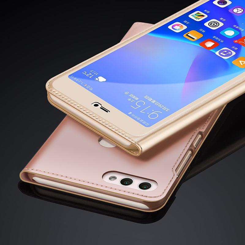 2019 Nieuwste Ontwerp Originele Merk Huawei Y9 2018 Case Luxe Pu Leer En Pc Hard Case Huawei Y9 2018 Flip Lederen Beschermhoes Noch Te Hard Noch Te Zacht
