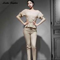2piece set womens twinset tops and pants 2019 Summer cotton blend Splicing waist belt stripe suits set ladies Skinny track suits