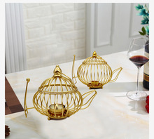 1PC Morden Lantern Shape Metal Hollow Out Kettle Candle Holder Articles Candlestick Hanging Lantern Home Decor Gifts  MK022