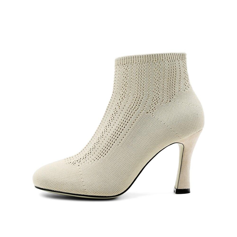 noir rouge 2019 Talons Spéciale De Tricoter Apricot À Chaussette Chaussures Élastique Mode Karinluna Offre Femme Cheville Bottes Femmes Haute 5RL4Ajq3