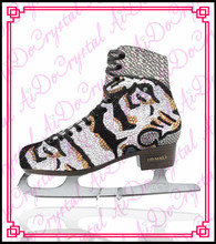 Aidocrystal 2015 hot sale fashion newest custome crystal figure ice skating shoes