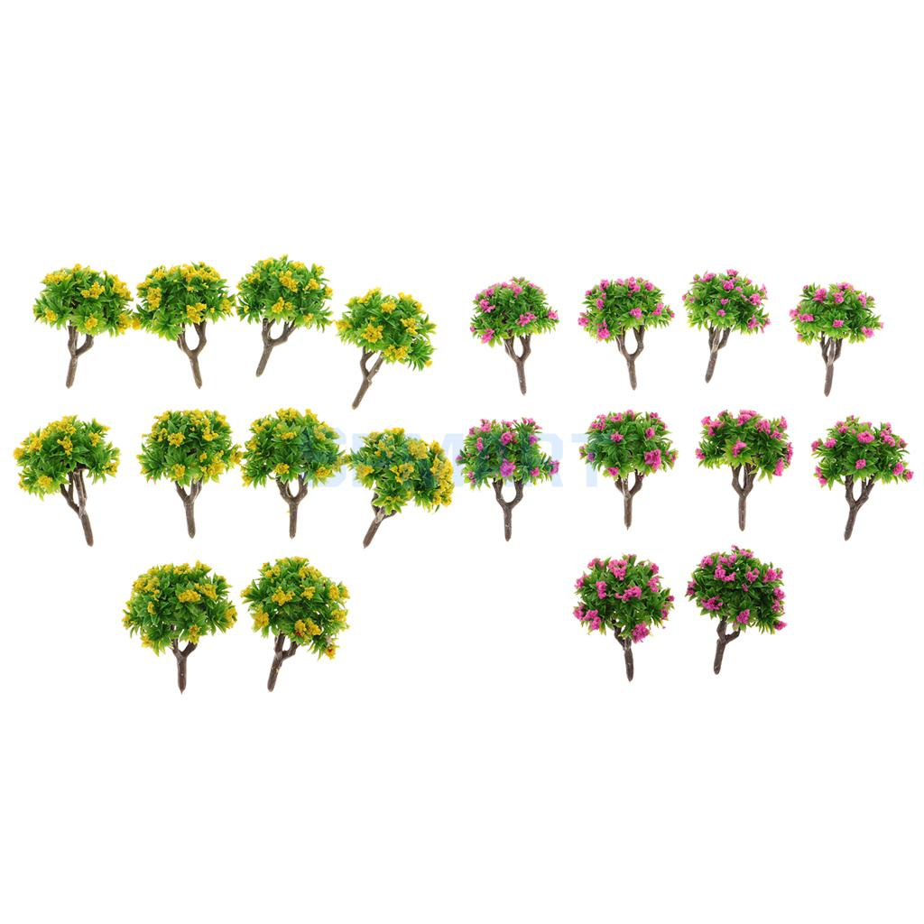 10pcs 5.5cm/2.2 Plastic Miniature Model Trees 1:200 Z Scale with Flower DIY Railway Layout Scenery Diorama Wargame Kids Gift