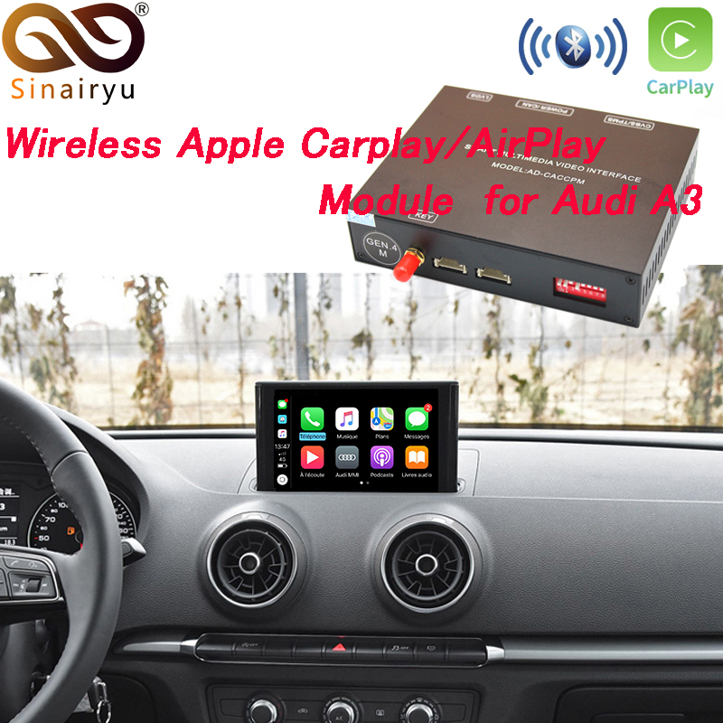 Sinairyu Aftermarket OEM Wireless Apple CarPlay A3 A4 A5 A6 A7 A8 Q3 Q5 Q7 MMI Solution Retrofit with Reverse Camera for Audi