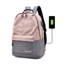 купить Women Backpack for School Style Canvas USB Charging Bag For College Simple Design Women Casual Daypacks Mochila Female Famous дешево