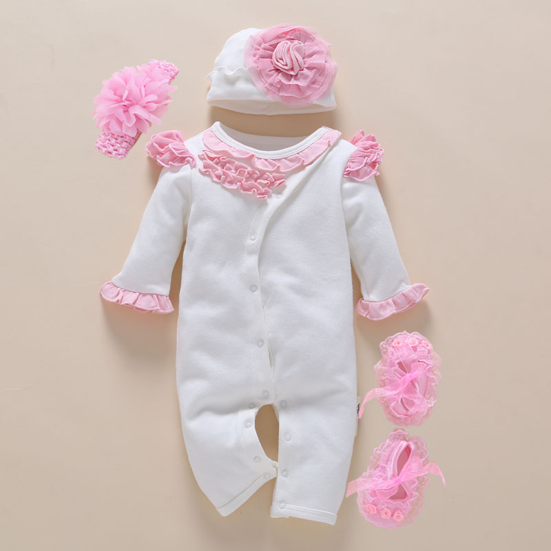 Baby Romper photography Headband Floral Жаңа туған қыз киім 0-3 ай Jumpsuit Көктем Қысқы Ақ Cute Body Suits 4pcs / set