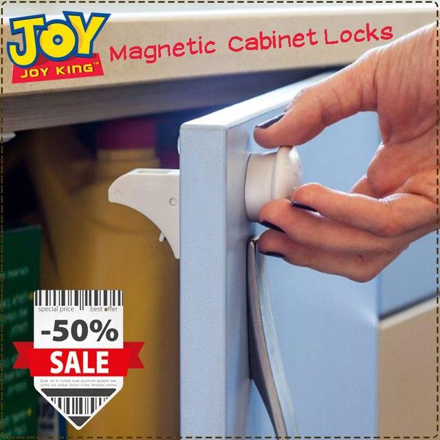 Child Kids Baby Safety Slide Lock Magnetic Cabinet Locks Drawers Plastic Furniture Protection Door