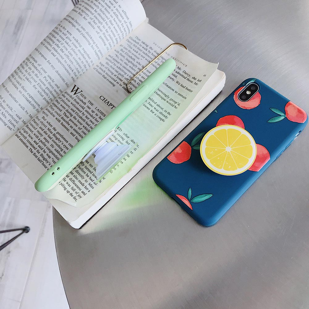 Fruit drinks Silicone Case For iPhone 7 7Plus 6 6SPlus Case Soft TPU Cover Leaves Bird For iPhone 8 8Plus X shell airbag bracket